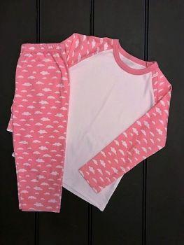 Pink Cloud Print Pyjama Set Size 4 -5 Years