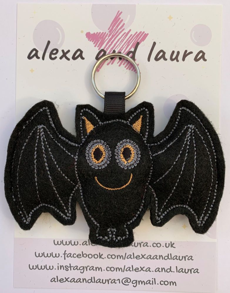 Ginger  Halloween Black Bat on Keyring