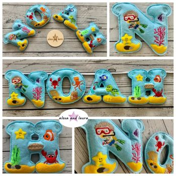 'Under the Sea B' Stuffed Felt Name Banner / Bunting