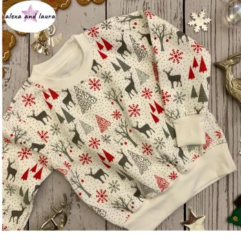 Reindeer Print Kids Crew Neck Fleece Sweatshirt Size 1-2 years