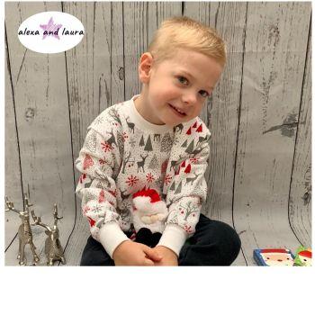 Reindeer Print Kids Crew Neck Fleece Sweatshirt Size 2-3 Years