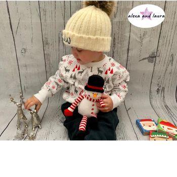 Reindeer Print Kids Crew Neck Fleece Sweatshirt Size 5-6 years