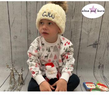 Reindeer Print Kids Crew Neck Fleece Sweatshirt Size 3-4 Years
