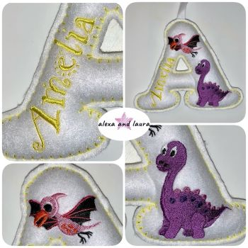 Dinosaur Theme B - Personalised Hanging Felt Stuffed Embroidered Single Letter