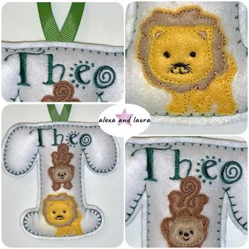 Jungle Theme - Personalised Hanging Felt Stuffed Embroidered Single Letter