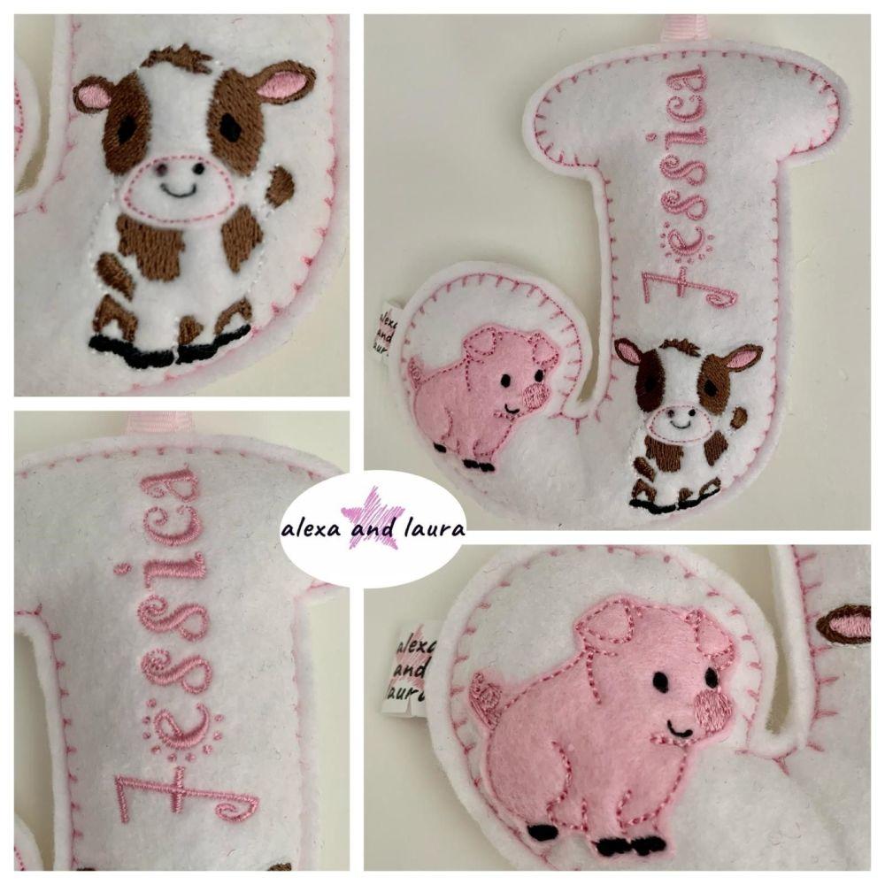 Farm Theme - Personalised Hanging Felt Stuffed Embroidered Single Letter