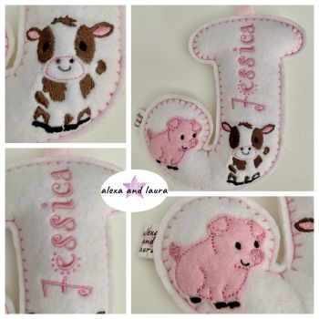 Farm Theme - Personalised Hanging Felt Stuffed Embroidered Single Letter