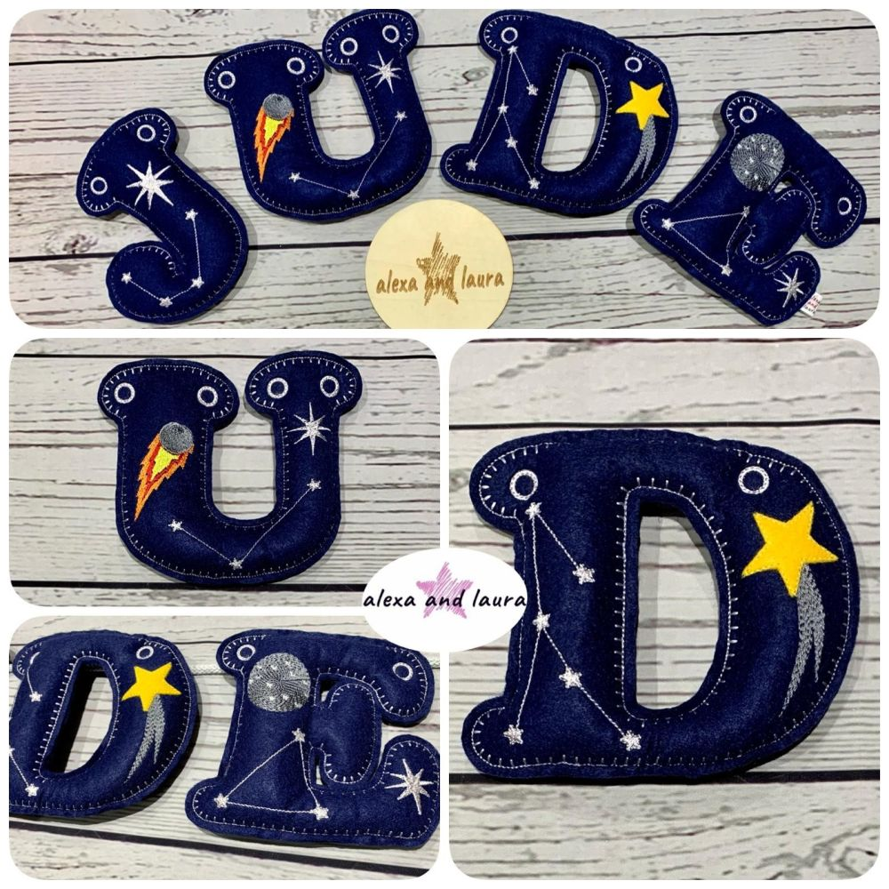 'Space Two' Felt Letter Banner / Bunting