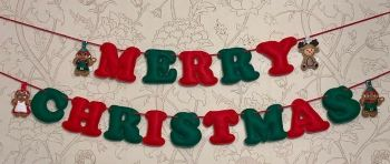 Merry Christmas Stuffed Felt Letter Banner with 4 Gingers