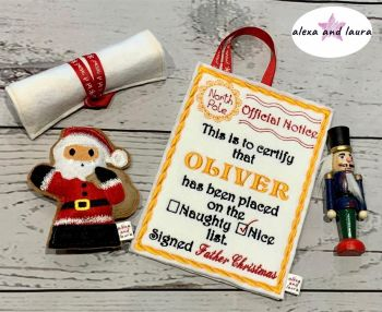 Personalised Embroidered Letter to Father Christmas Naughty / Nice