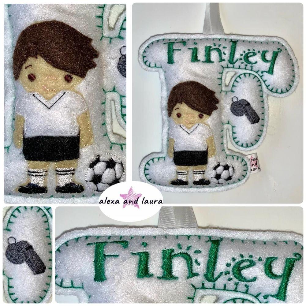 Football Theme - Personalised Hanging Felt Stuffed Embroidered Single Lette