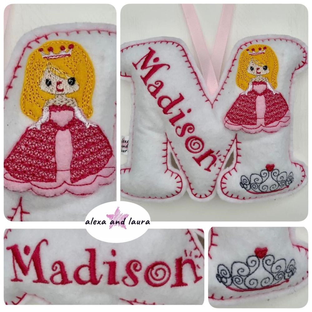 Princess Theme - Personalised Hanging Felt Stuffed Embroidered Single Lette