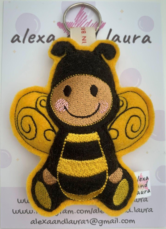 Ginger Stripy Yellow & Black Bee on Keyring