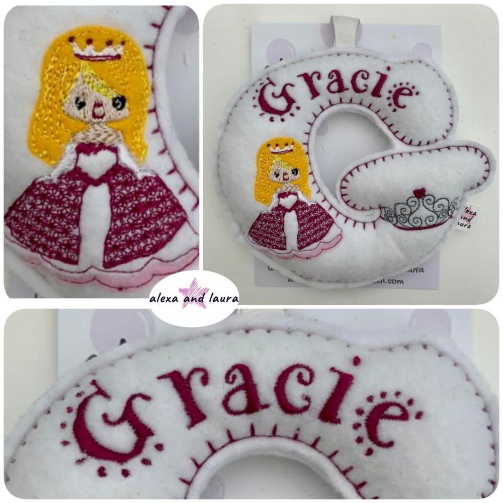 Princess Theme - Personalised Hanging Felt Stuffed Embroidered Single Lette
