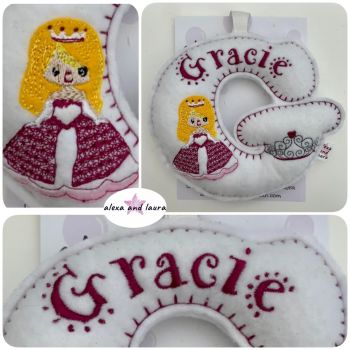 Princess Theme - Personalised Hanging Felt Stuffed Embroidered Single Letter