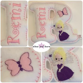 Fairies Theme - Personalised Hanging Felt Stuffed Embroidered Single Letter