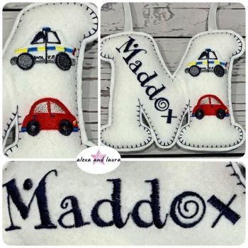 Transport Theme - Personalised Hanging Felt Stuffed Embroidered Single Letter