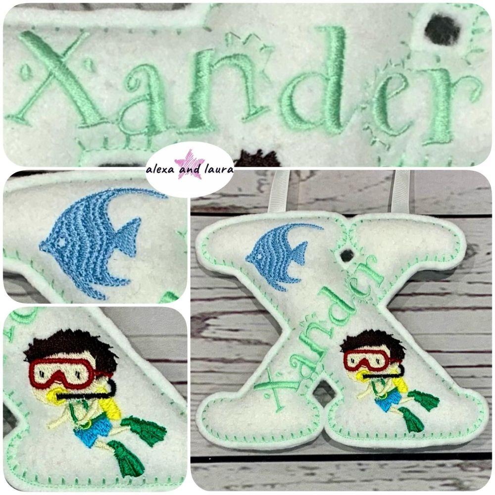 Under the Sea Theme - Personalised Hanging Felt Stuffed Embroidered Single