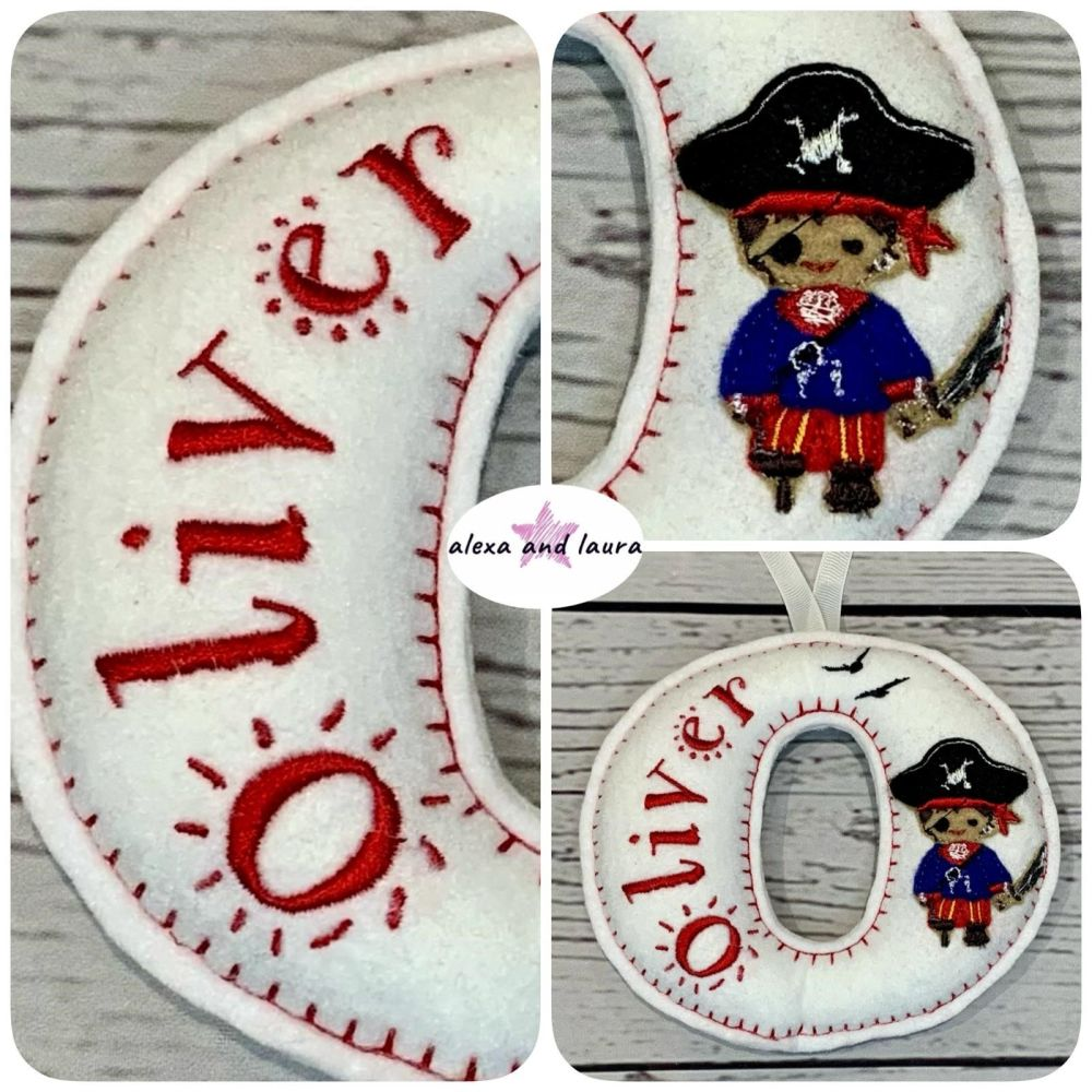 Pirate Theme - Personalised Hanging Felt Stuffed Embroidered Single Letter