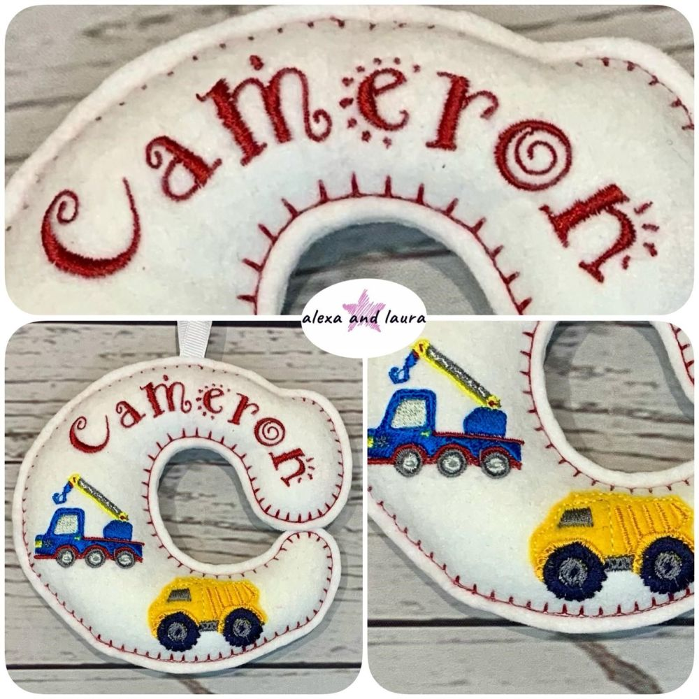 Construction Theme - Personalised Hanging Felt Stuffed Embroidered Single L