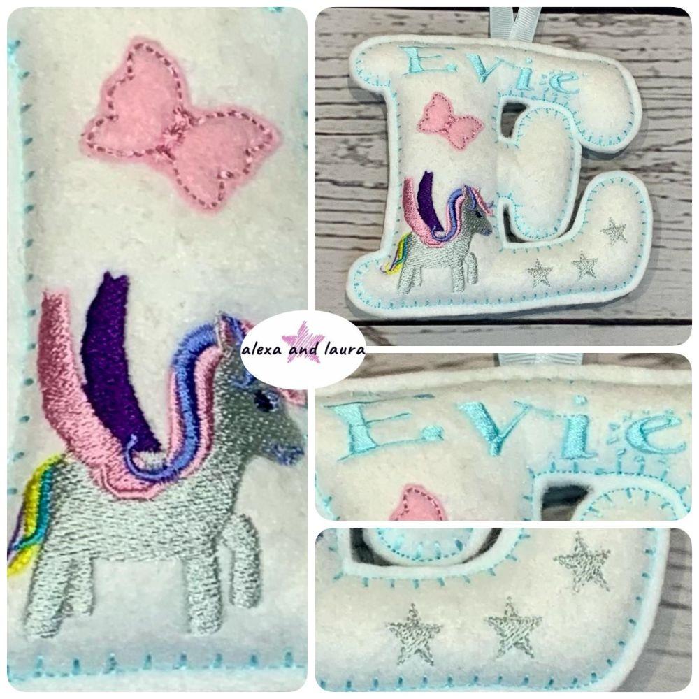 Unicorn Theme - Personalised Hanging Felt Stuffed Embroidered Single Letter