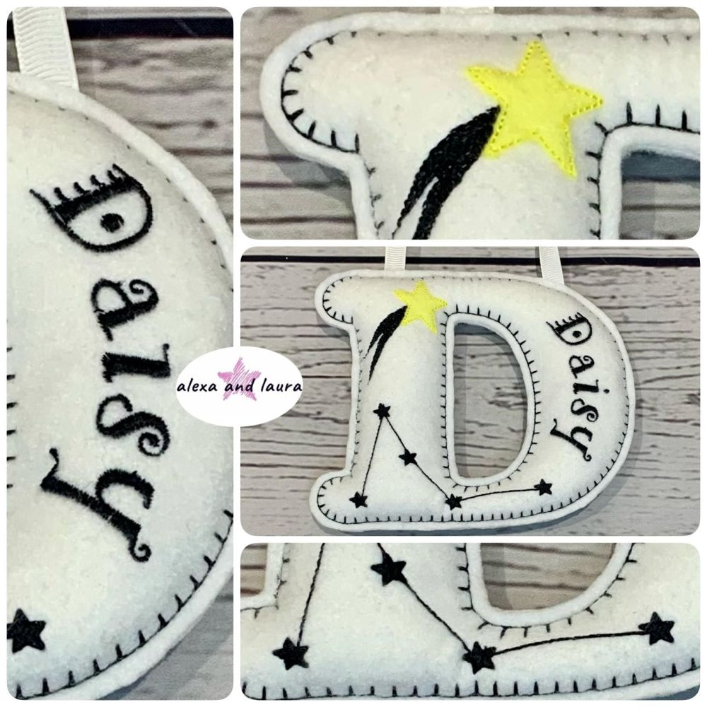 Constellations Theme - Personalised Hanging Felt Stuffed Embroidered Single