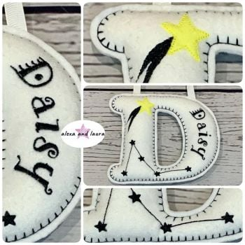Constellations Theme - Personalised Hanging Felt Stuffed Embroidered Single Letter
