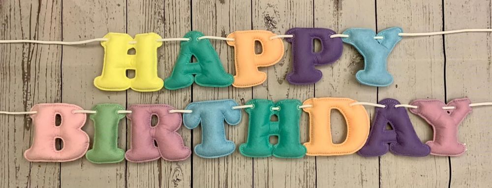 Happy Birthday Stuffed Felt Letter Banner - Photo coming soon!