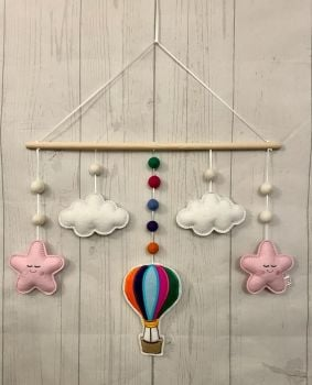 Multi - Coloured Hot Air Balloon, Stars & Clouds Wall Hanging