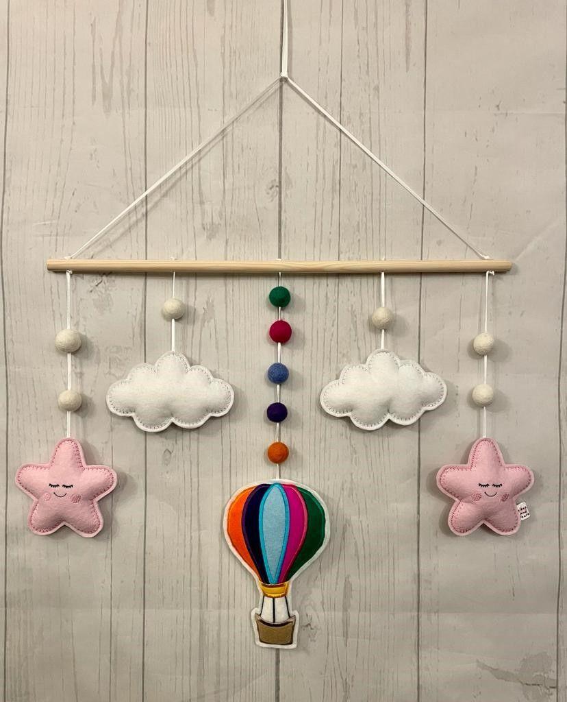 Hot air balloon, clouds, stars, hanging, rainbow