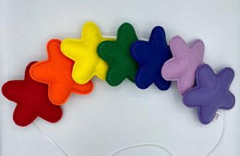 Stuffed Felt 7 Star Garland in Rainbow Colours