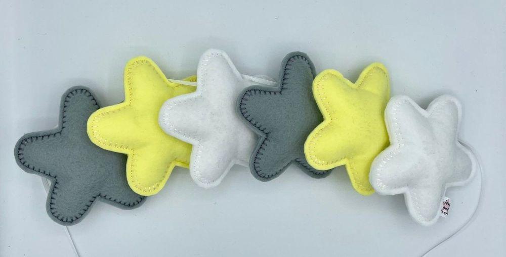 Stuffed Felt 6 Star Garland in Dark Blue, Teal & Lime