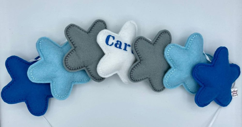 Stuffed Felt 7 Star Name Garland in Blue, Baby Blue, Grey & White,