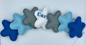 Stuffed Felt 7 Star Name Garland in Blue, Baby Blue, Grey & White