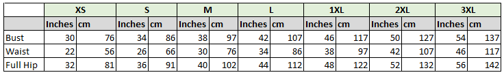 Sizing Table for pattern