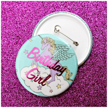 Unicorn Birthday Girl Pin Badge