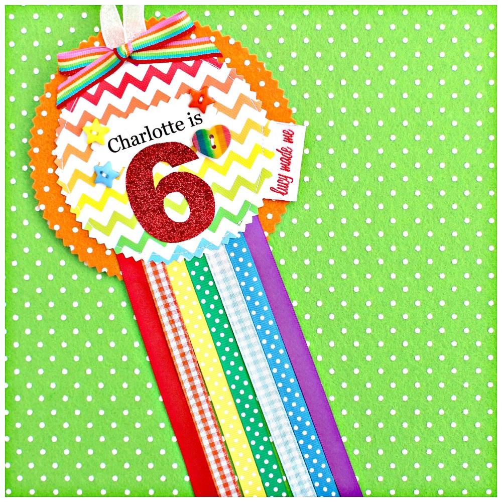 Rainbow Chevron Rosette Badge
