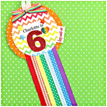 Rainbow Chevron Rosette Badge