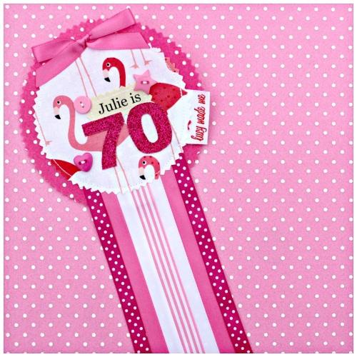 Flamingo Rosette Badge