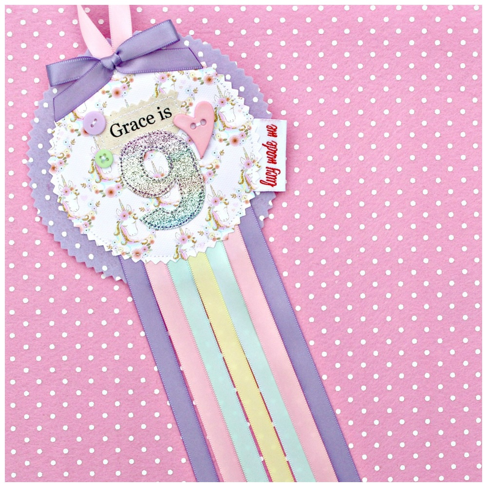 Unicorn Mini Faces Rosette Badge