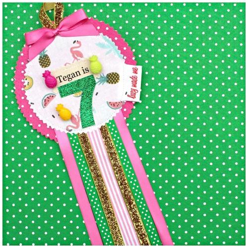 Tropical Pineapple Flamingo Rosette Badge