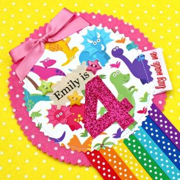 Dinosaur Rainbow Badge £8.00-£12.00