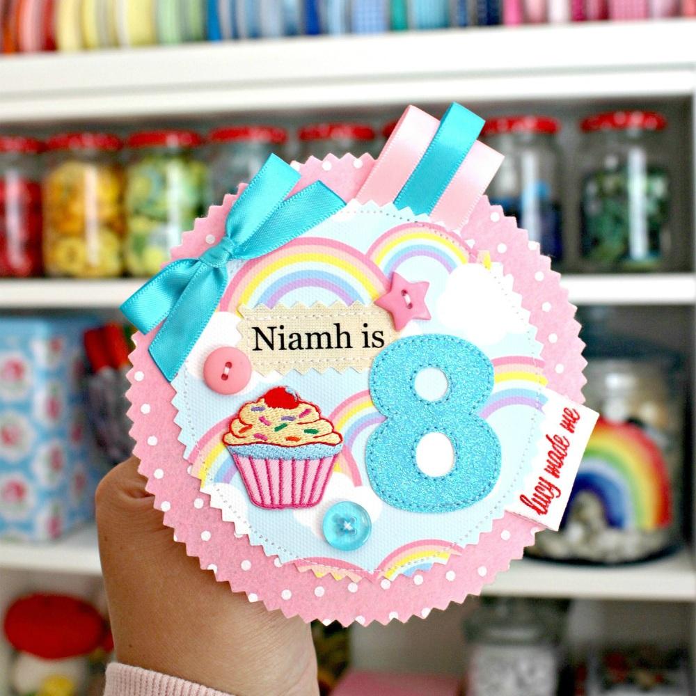 Rainbow Cupcake Badge £10.00-£12.00