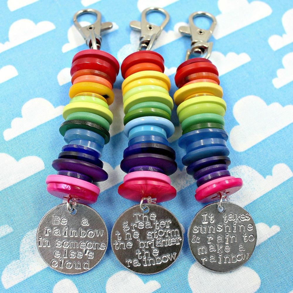 Button Rainbow Keyrings