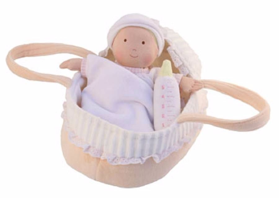 Baby Rag Doll with fabric carry cot