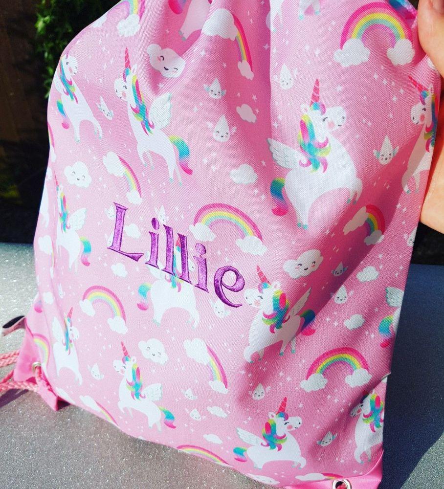 Rainbow Unicorn Drawstring Bag