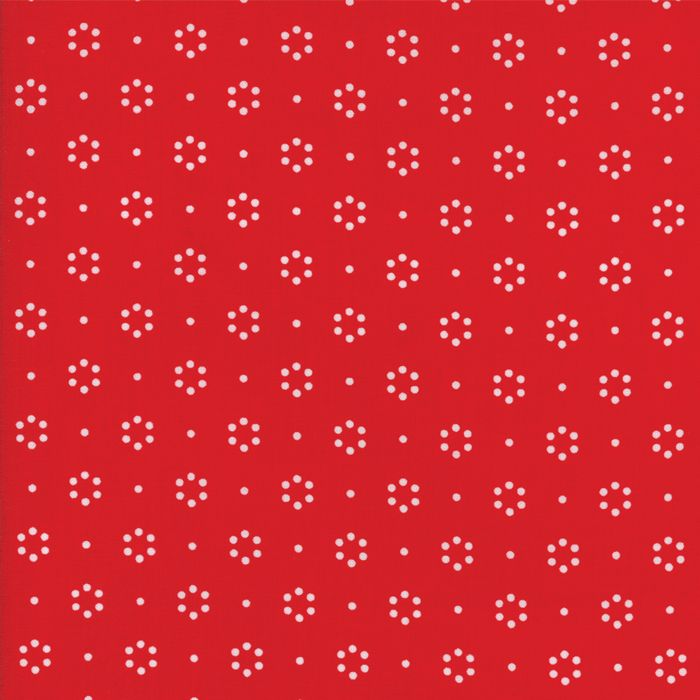 WHITE DOT CIRCLES ON RED