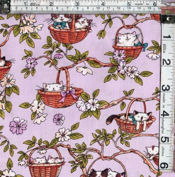 CATS IN THE GARDEN IN BASKETS PINK FROM CLOTHWORKS  FAT QTR