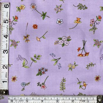 CATS IN THE GARDEN FLOWERS ON MAUVE FROM CLOTHWORKS  FAT QTR