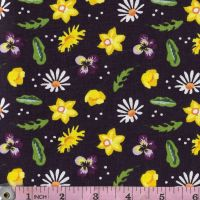 WILD FLOWERS  FF350 - Daffodils, daisies, buttercups, dandelions and violas on a rich deep purple background.